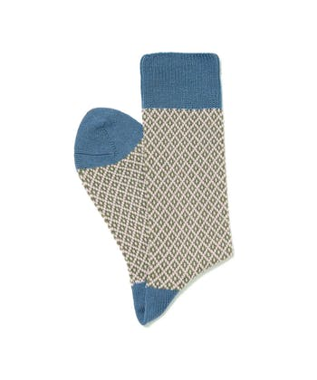 Diamond Knit Socks - Pink/Blue