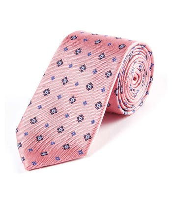Pink/Navy Floral - Woven Silk Tie