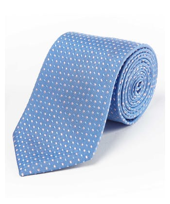 Pink Squares on Blue - Woven Silk Tie