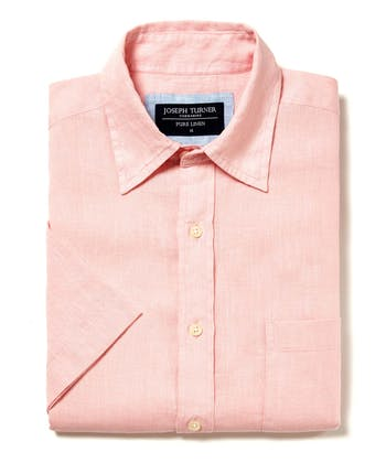 Linen Shirt - Short Sleeve - Pink