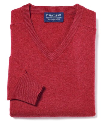 Lambswool Jumper - V Neck - Poppy