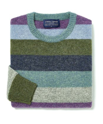 Shetland Jumper - Striped Crew Neck - Purple/Blue/Green
