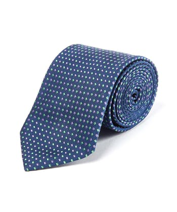 Purple/Green Squares on Navy - Woven Silk Tie