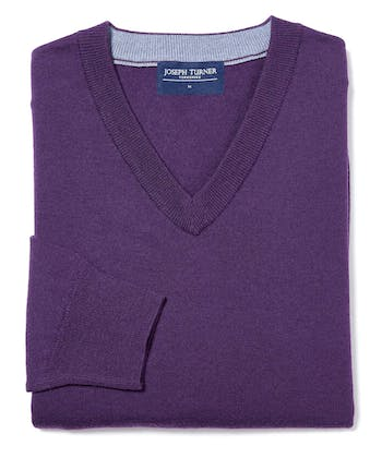 Merino Jumper - V Neck - Purple