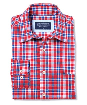 Brushed Cotton Check Shirt - Red/Blue