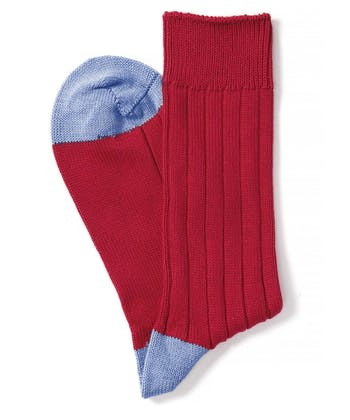 Heel & Toe Cotton Socks - Red/Blue