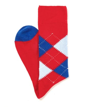 Argyle Socks - Red/Blue/Sky