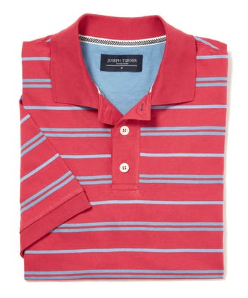 Striped Jersey Polo Shirt - Red/Sky