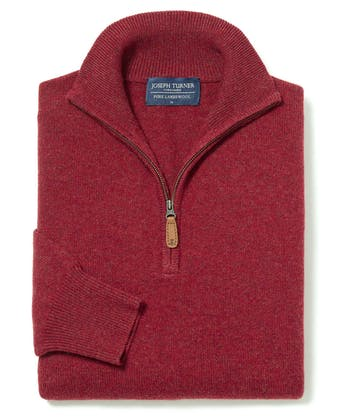 Lambswool Jumper - Half Zip - Red