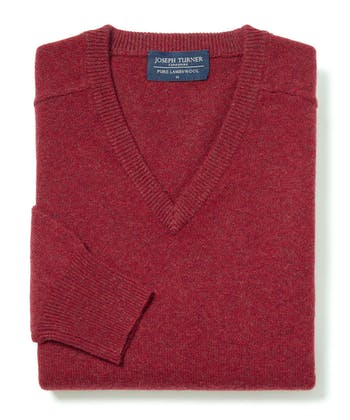 Lambswool Jumper - V Neck - Red