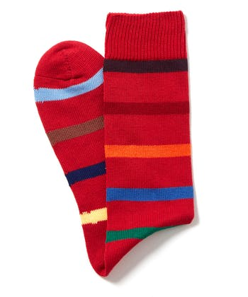 Multi-Stripe Cotton Socks - Red