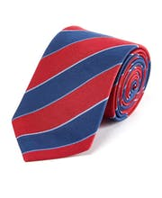 Red/Navy Stripe - Woven Silk Tie