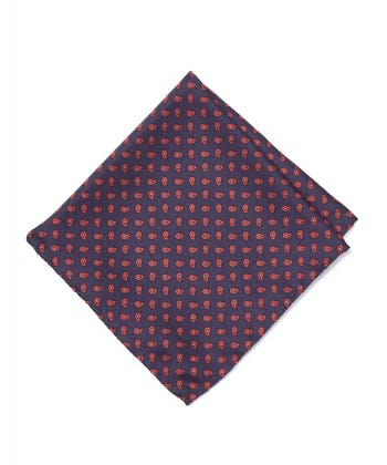 Silk Pocket Square - Red Paisley