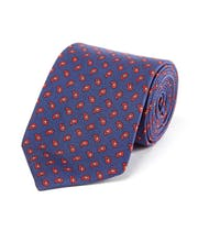 Red Paisley on Navy - Printed Silk Tie
