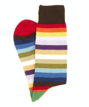 Striped Cotton Socks - Red Toe Multi Stripe