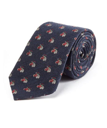 Red Tractor on Navy - Wool/Silk Tie