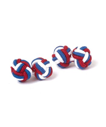 Red/White/Blue Silk Knot Cufflinks