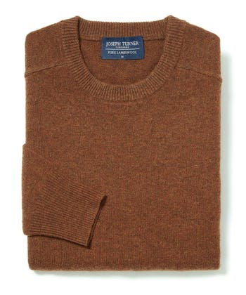 Lambswool Jumper - Crew Neck - Rust