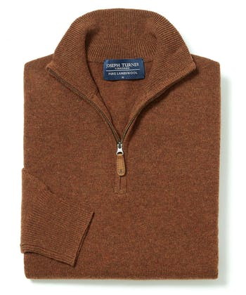 Lambswool Jumper - Half Zip - Rust