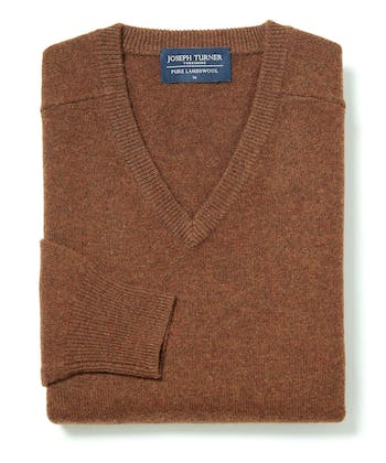 Lambswool Jumper - V Neck - Rust