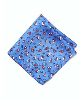 Silk Pocket Square - Sail Boats on Blue