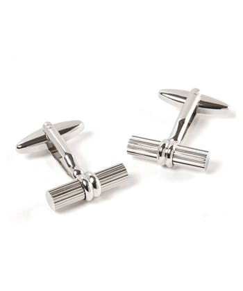 Silver Bevelled Bar Cufflinks