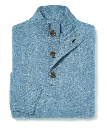Donegal Jumper - Button Neck - Sky