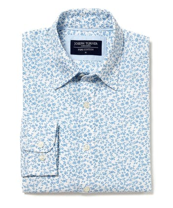 Cotton Print Shirt - Sky Floral