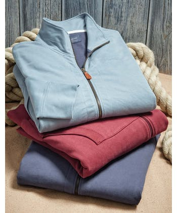 Full-Zip Jersey Sweatshirt - Cranberry