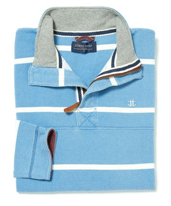 Washed Pique Half-Zip Sweatshirt - Sky