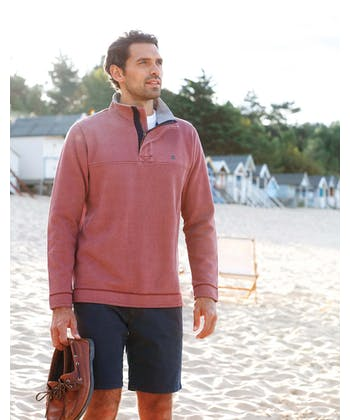Washed Pique Half-Zip Sweatshirt - Soft Red