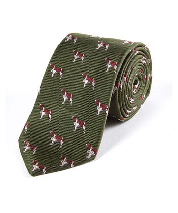 Spaniels on Green - Woven Silk Tie