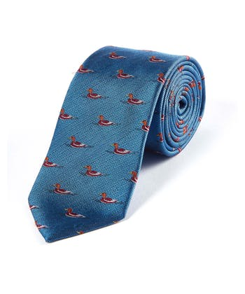 Ducks on Blue - Woven Silk Tie