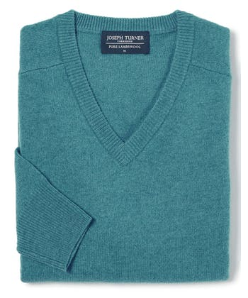 Lambswool Jumper - V Neck - Teal
