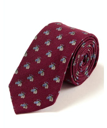Tractors on Burgundy - Wool/Silk Tie