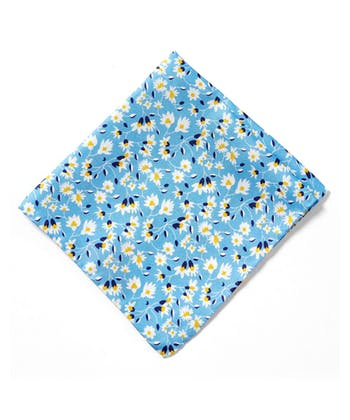 Silk Pocket Square - White Flower on Blue