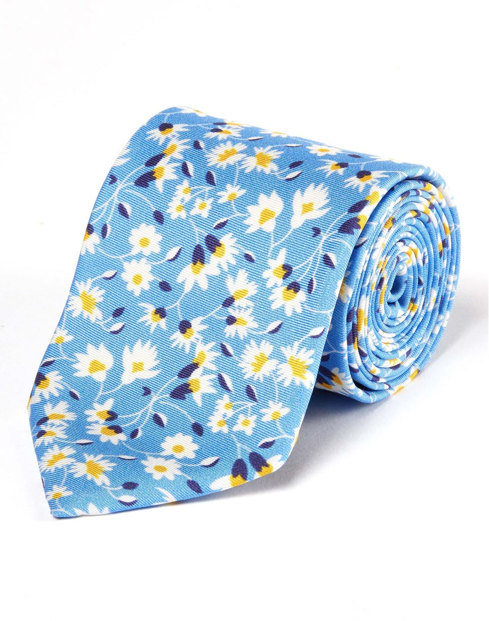 1defc57a9a40 Men's Ties | White Flowers on Blue - Printed Silk Tie by Joseph Turner