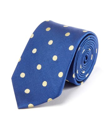 Yellow Polka Dot on Navy - Woven Silk Tie