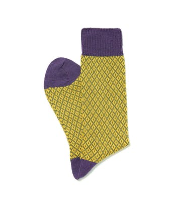 Diamond Knit Socks - Yellow/Purple