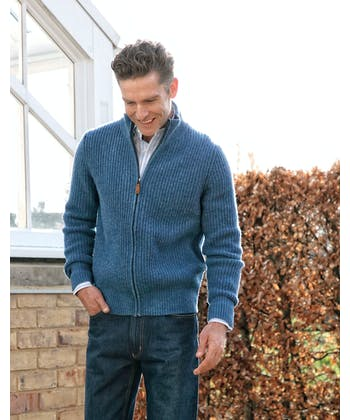 Lambswool Whitby Zip Cardigan - Blue